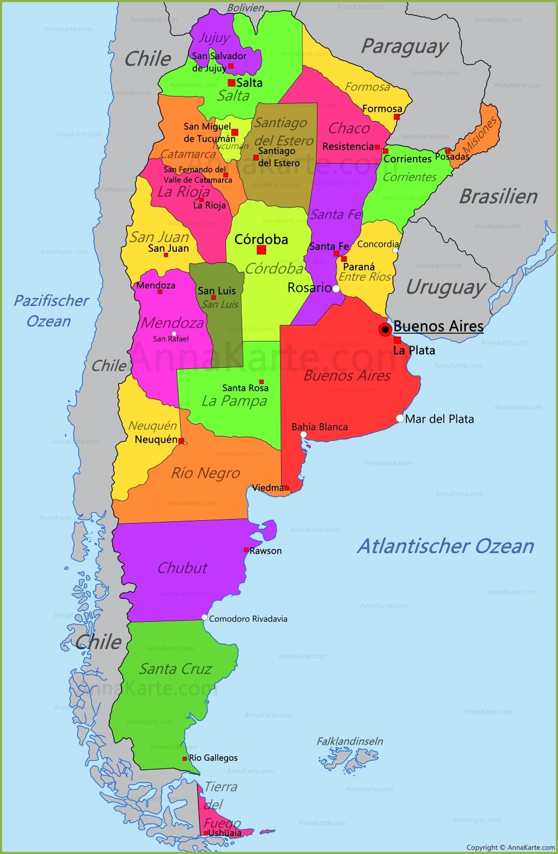 argentinien karte Argentinien Karte   AnnaKarte.com