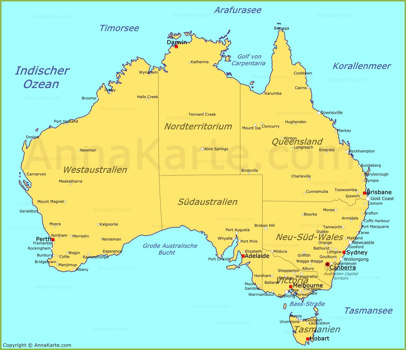 Karte Australien Englisch.Australien Karte Annakarte Com