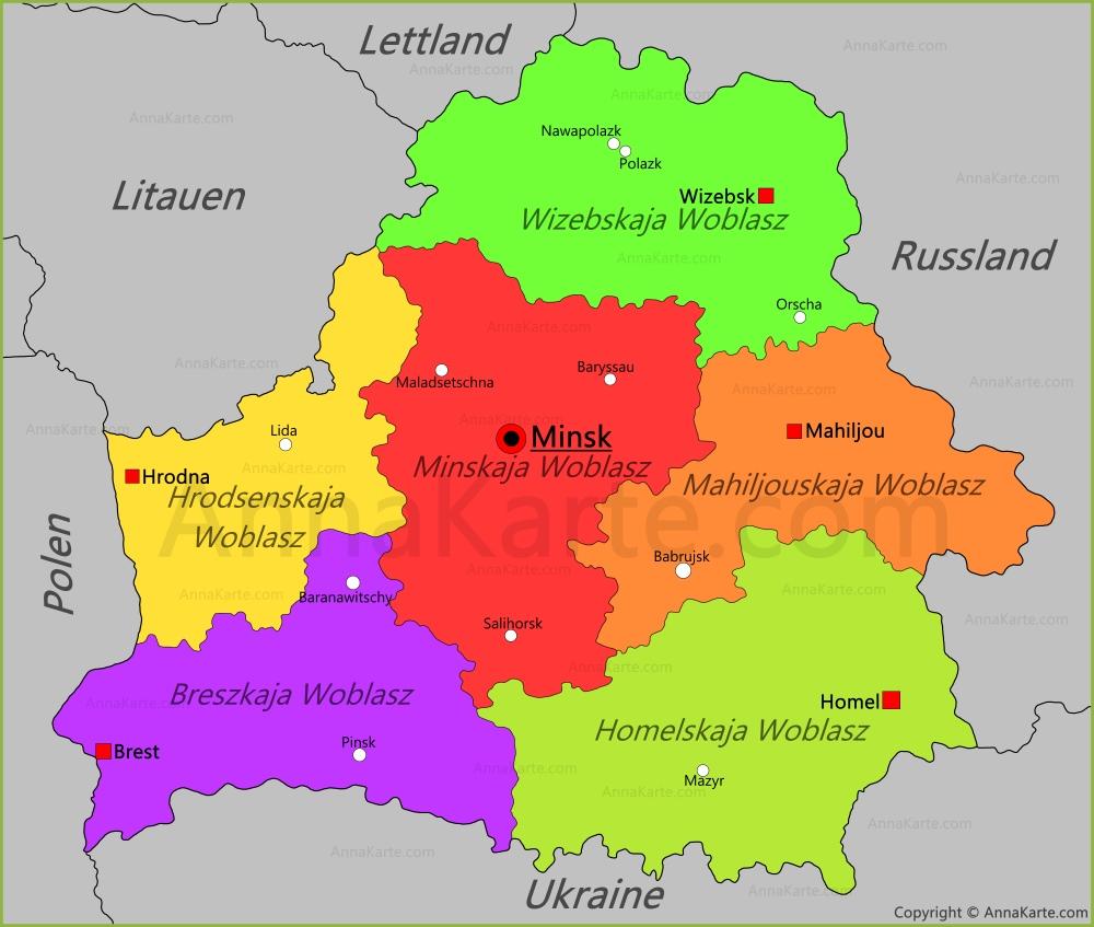 Weissrussland Karte Annakarte Com