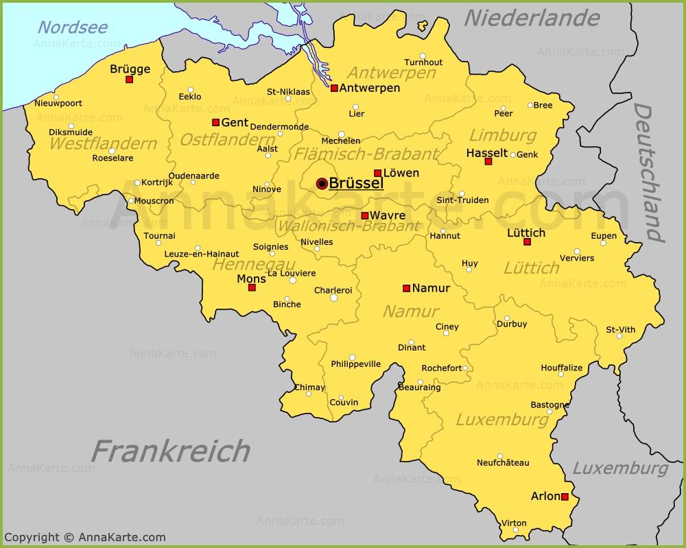 karte belgien Belgien Karte   AnnaKarte.com