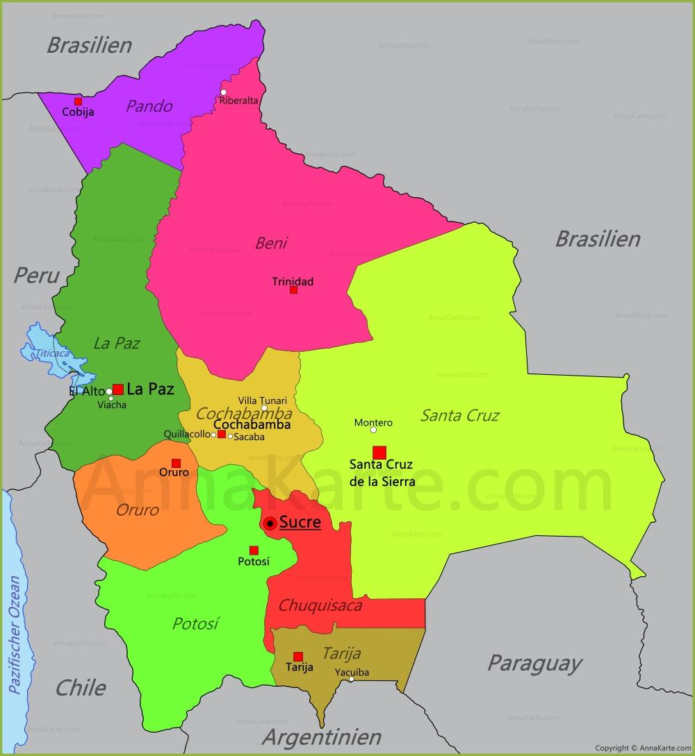 bolivien karte Bolivien Karte   AnnaKarte.com