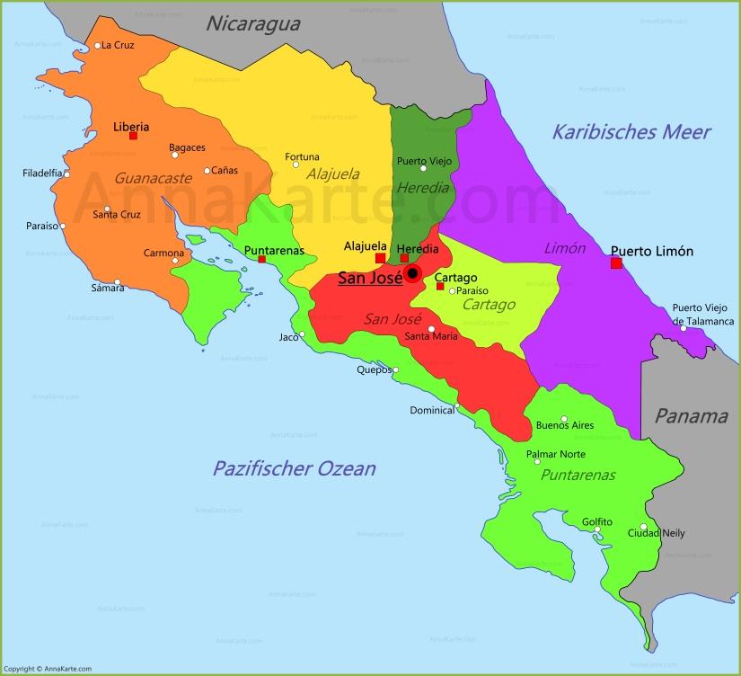karte costa rica Costa Rica Karte   AnnaKarte.com karte costa rica