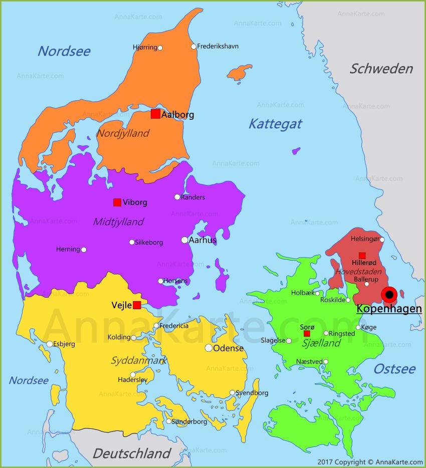 dänemark karte Dänemark Karte   AnnaKarte.com