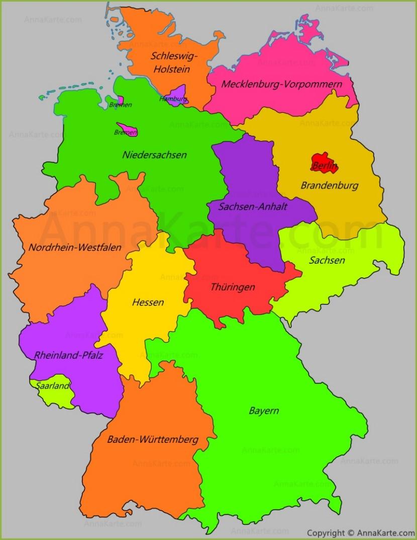 deutschland bundesländer karte Deutschland Karte Mit Bundesländer (Länder)   AnnaKarte.com deutschland bundesländer karte