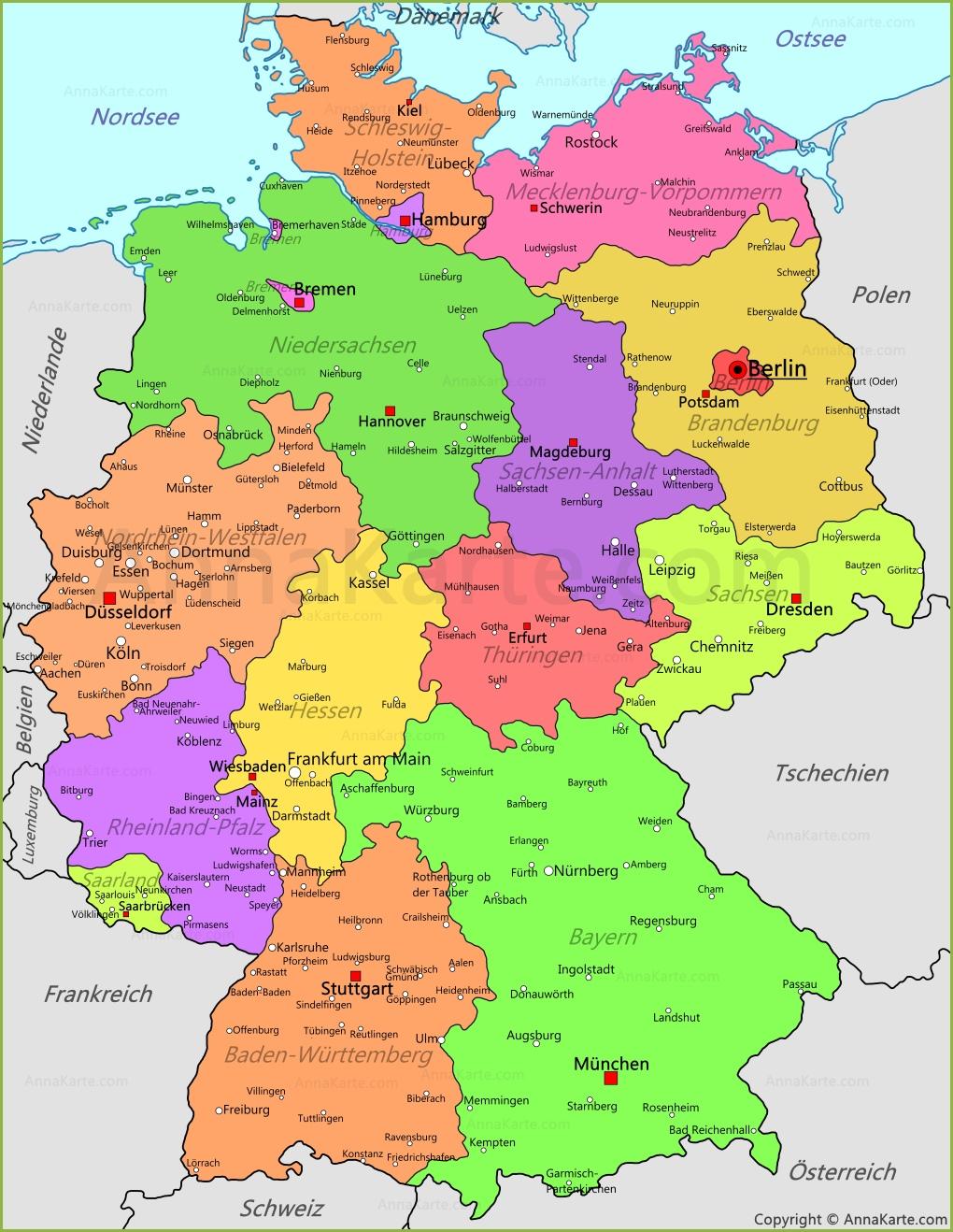 Deutschland Karte Politisch | Karte 2020