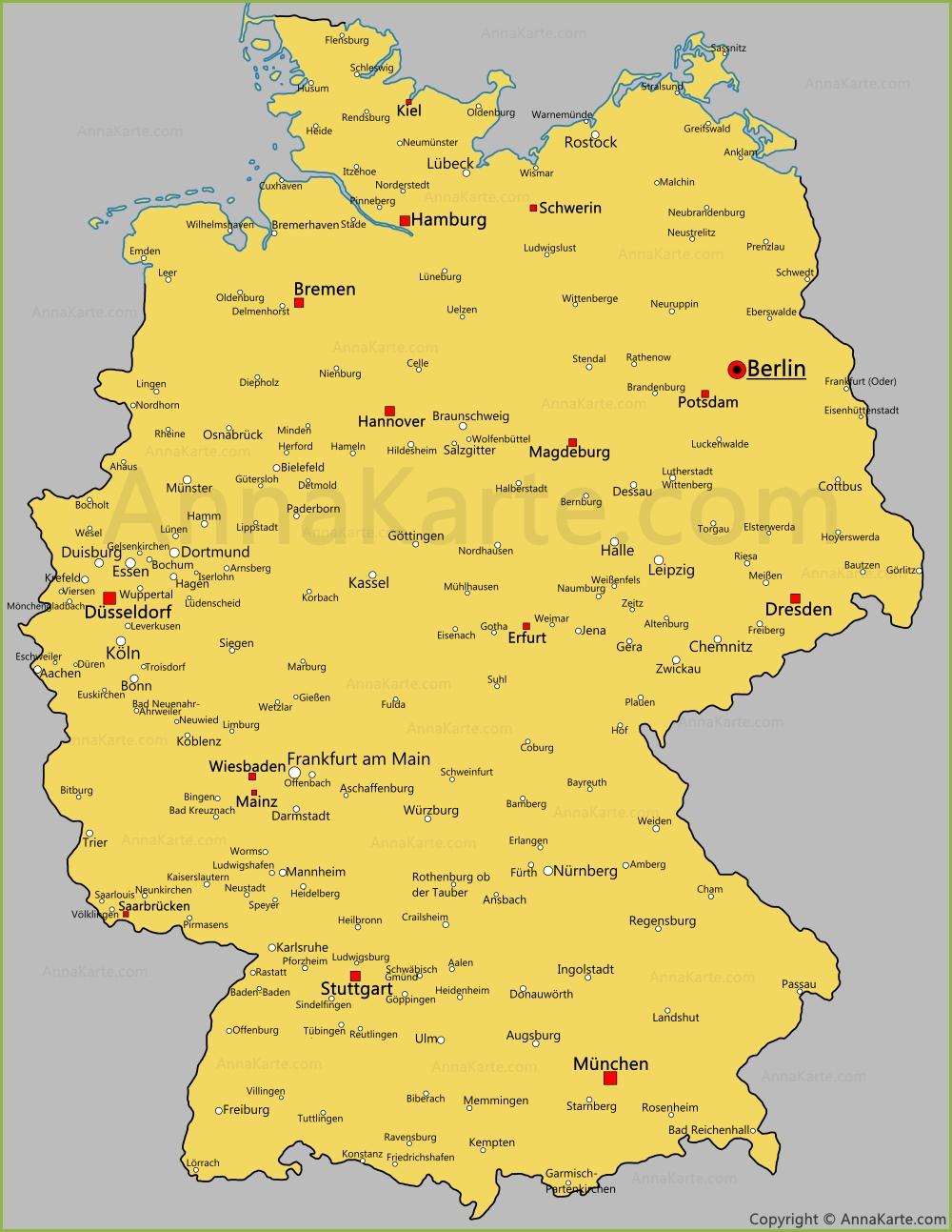 Die Stadte Von Deutschland Auf Der Karte Annakarte Com