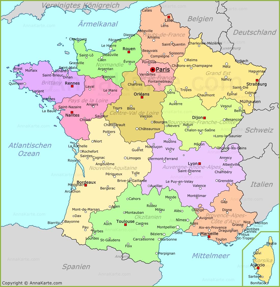 Frankreich Karte Annakarte Com