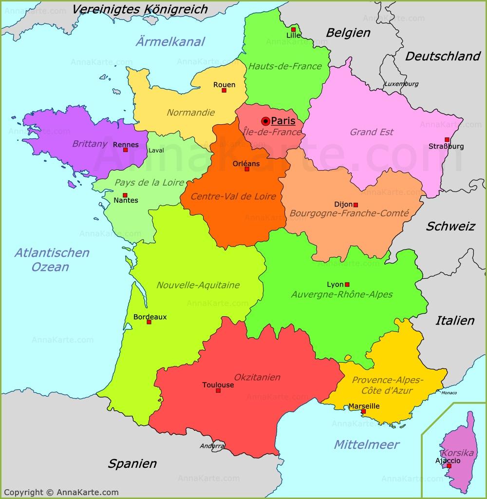 landkarte von frankreich Frankreich politische Landkarte   AnnaKarte.com landkarte von frankreich