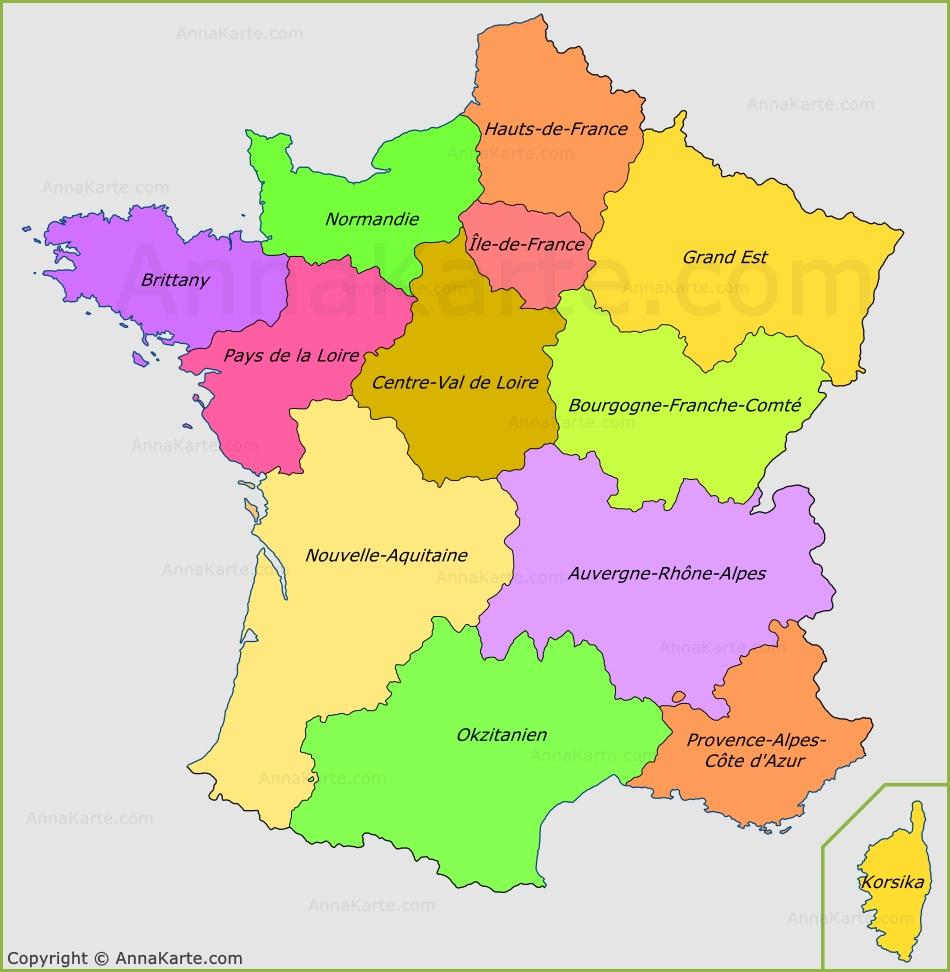 karte frankreich mit regionen Karte der französischen Regionen   AnnaKarte.com