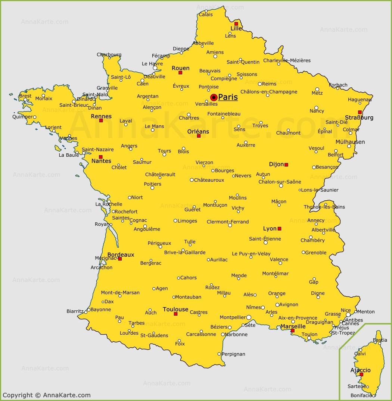 Frankreich Karte Stadte.Die Stadte Von Frankreich Auf Der Karte Annakarte Com