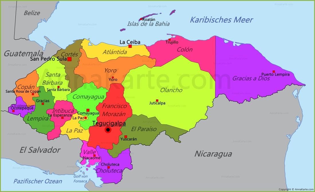 honduras karte Honduras Karte   AnnaKarte.com