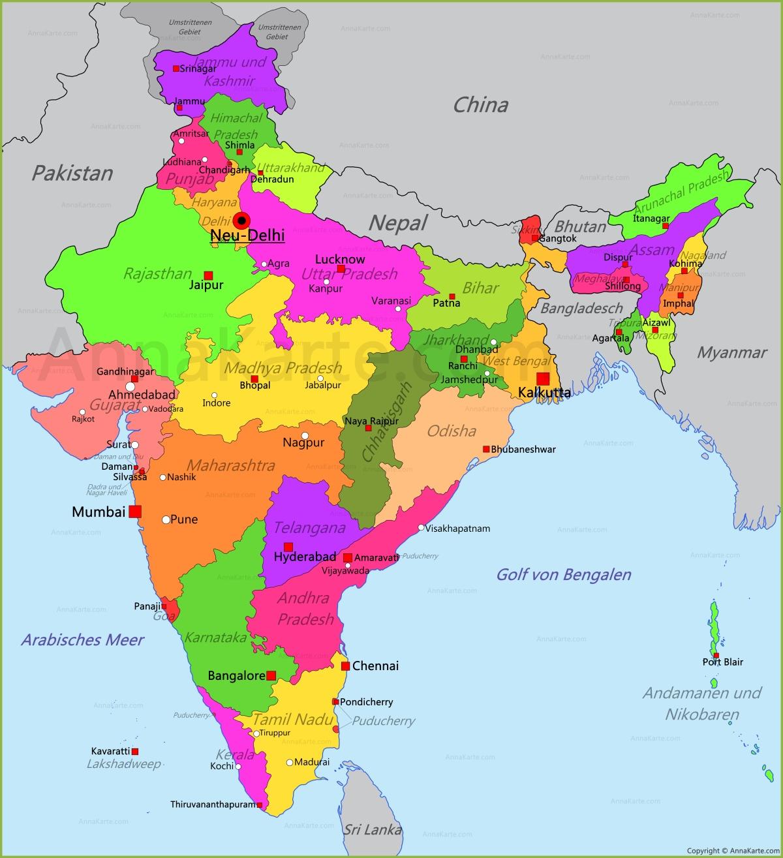 indien karte Indien Karte   AnnaKarte.com