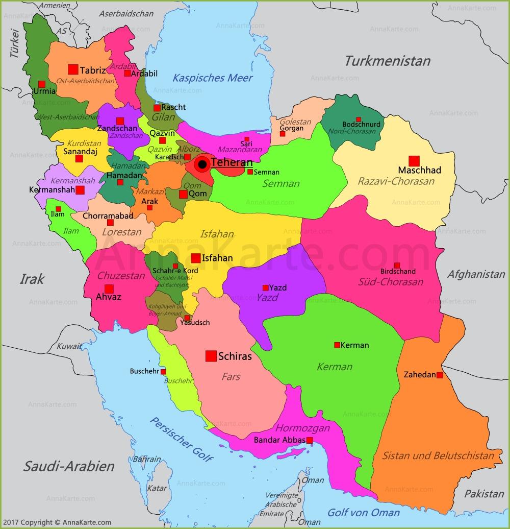 Iran Karte Annakarte Com