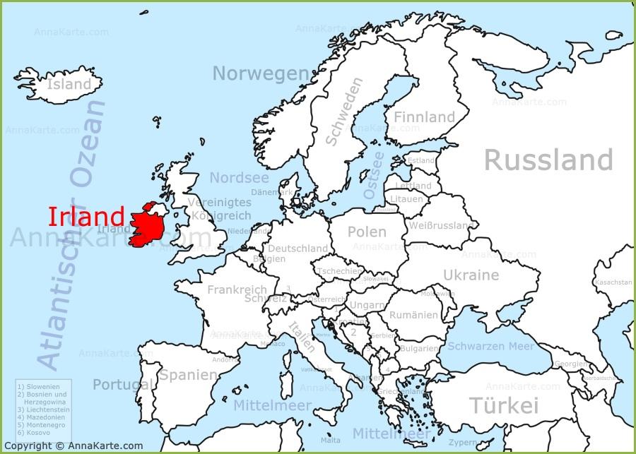 Irland Auf Der Karte Europas Annakarte Com
