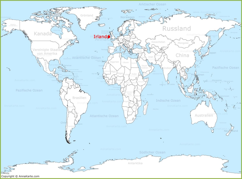 Irland Auf Der Weltkarte Annakarte Com
