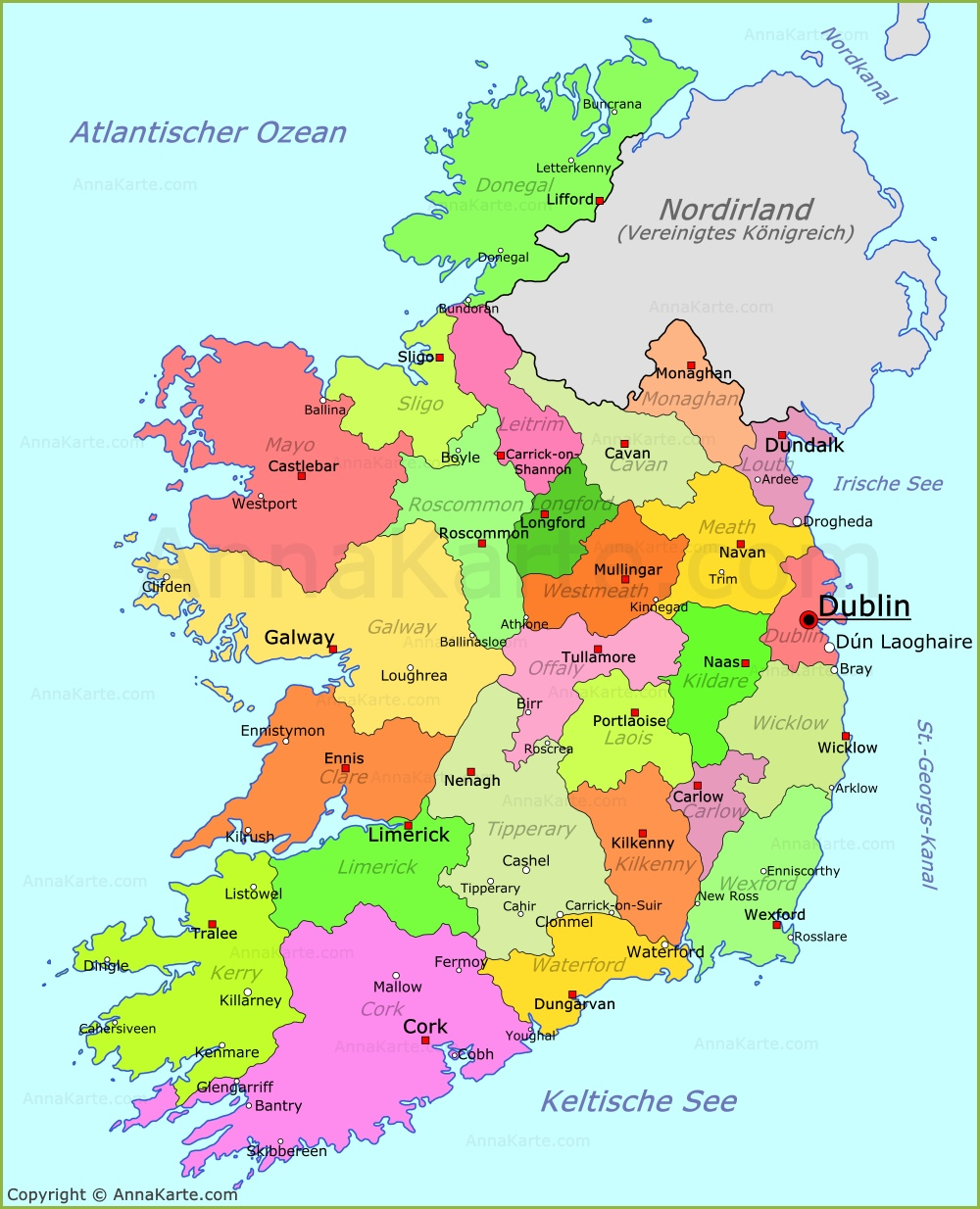 Irland Karte Städte.Irland Karte Annakarte Com