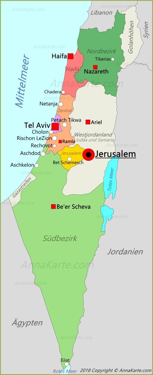 Tel Aviv Jerusalem Karte.Israel Karte Annakarte Com