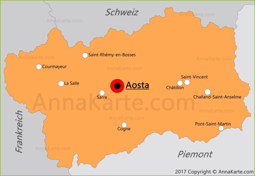 Aostatal Karte