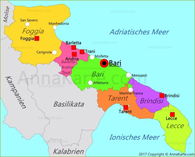 Apulien Karte Italien Annakarte Com