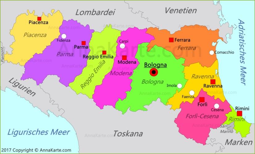 Emilia Romagna Karte Italien Annakarte Com