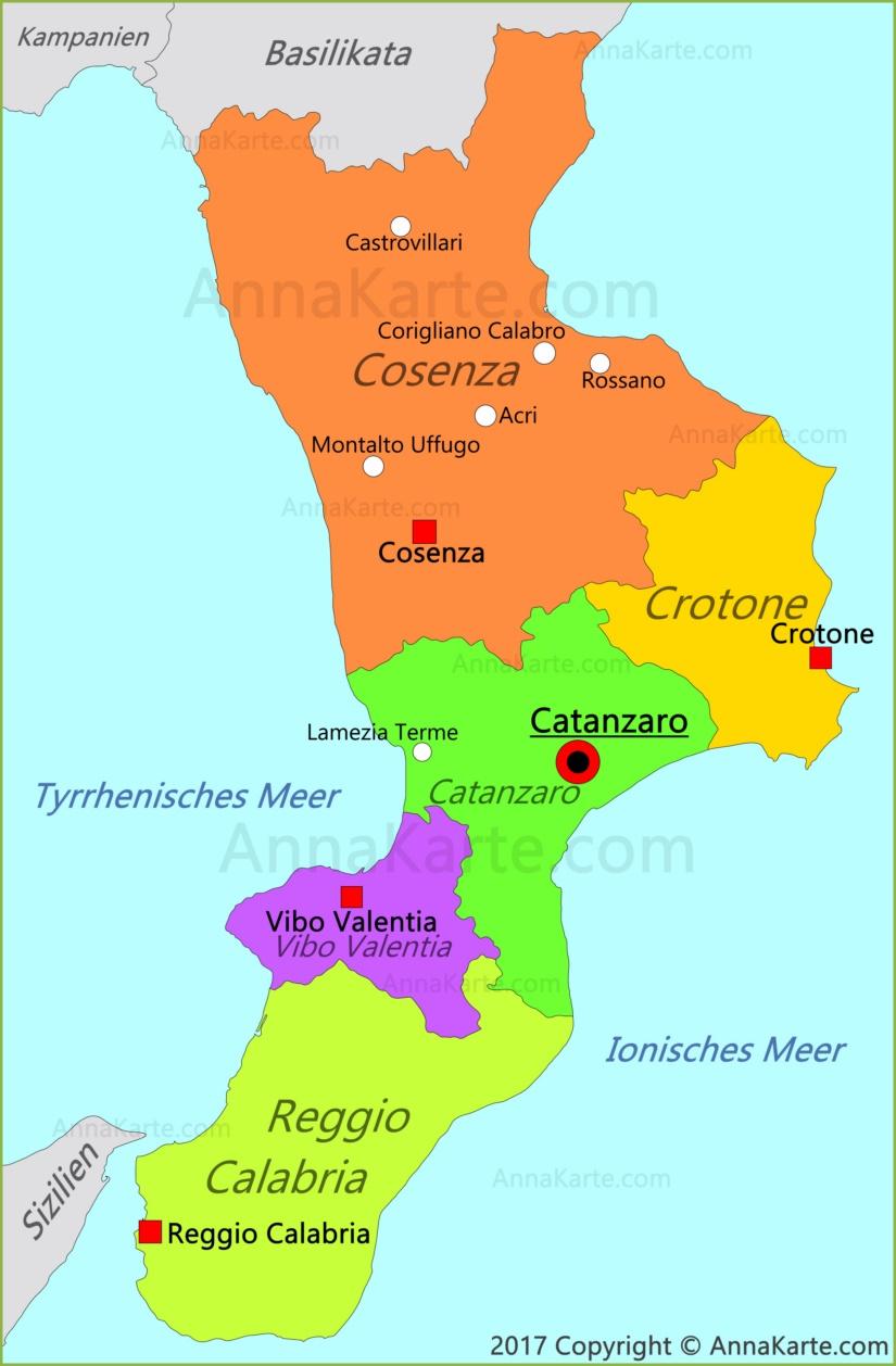 kalabrien landkarte italien Kalabrien Karte | Italien   AnnaKarte.com