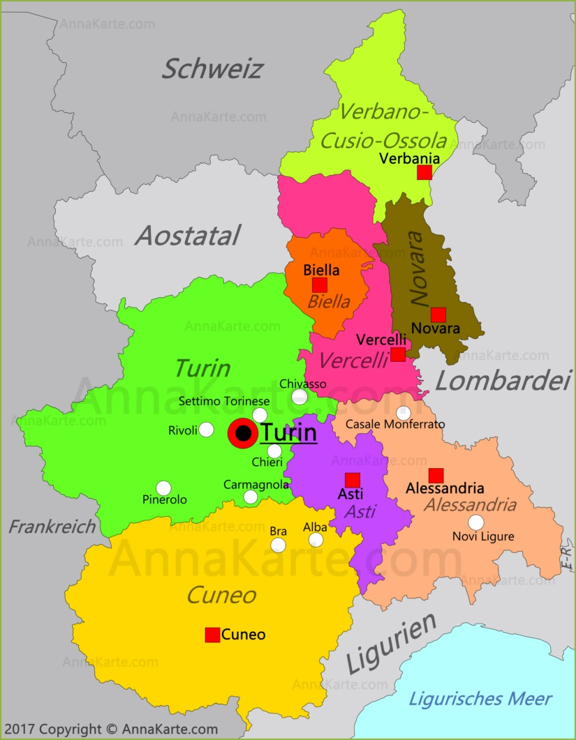 piemont karte Piemont Karte | Italien   AnnaKarte.com