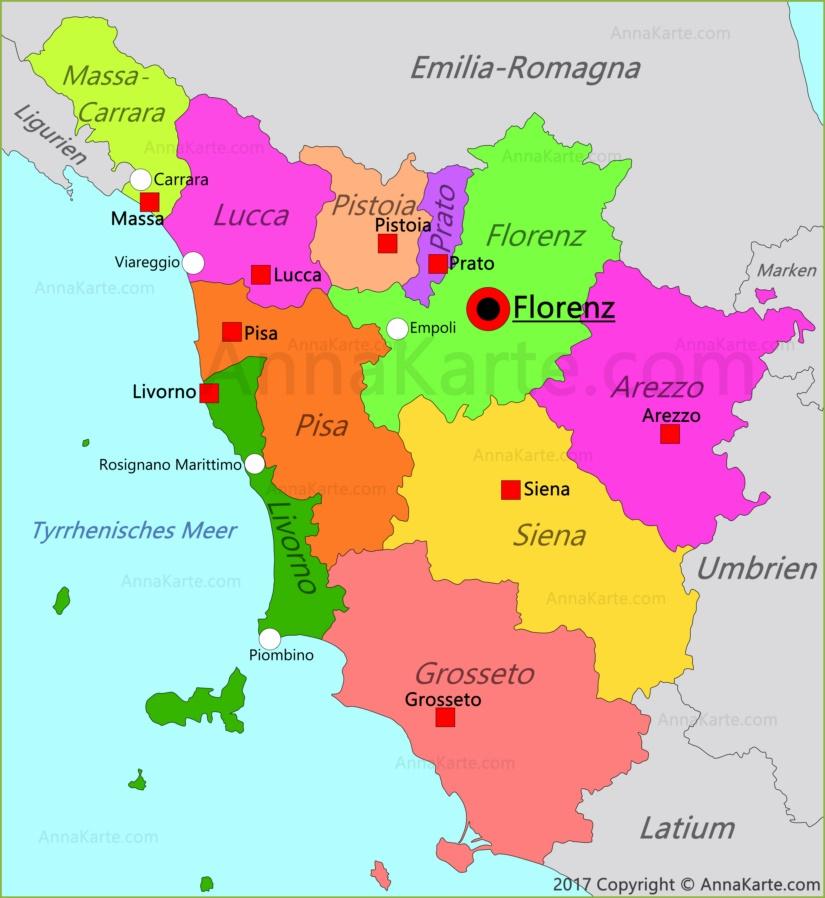 Toskana Karte Italien Annakarte Com