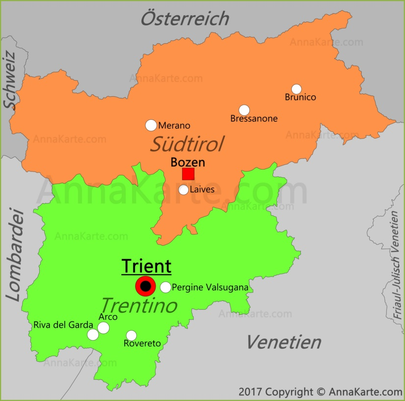 Trentino-Südtirol Karte
