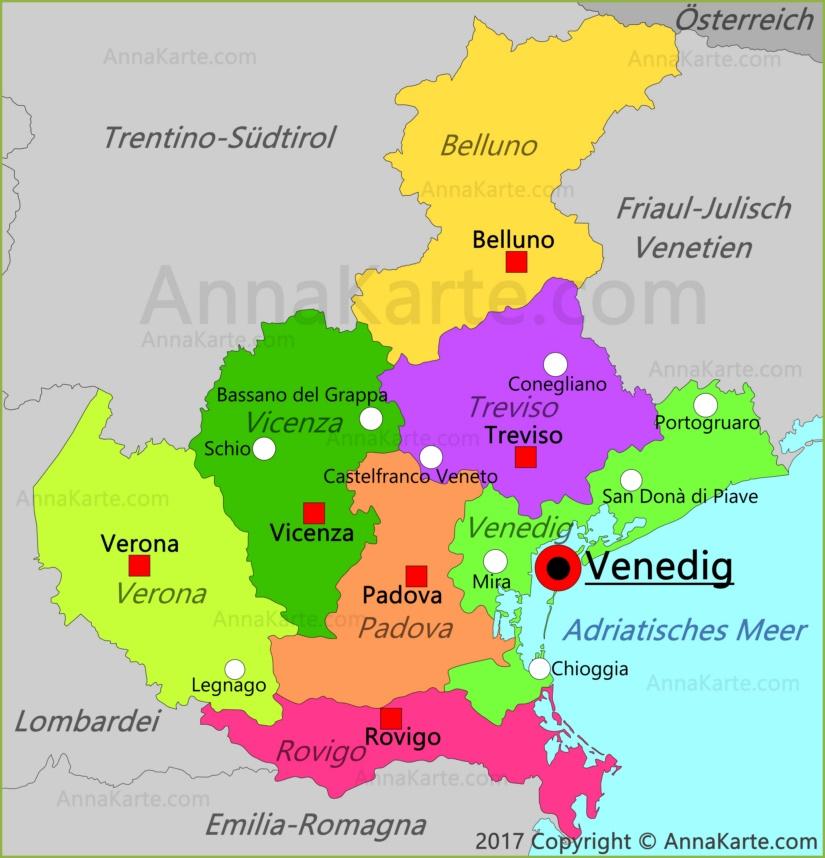 Venetien Karte Italien Annakarte Com