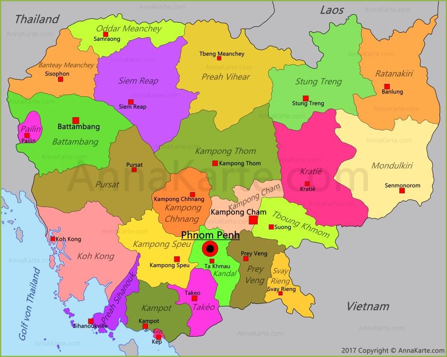 Kambodscha Karte.Kambodscha Karte Annakarte Com