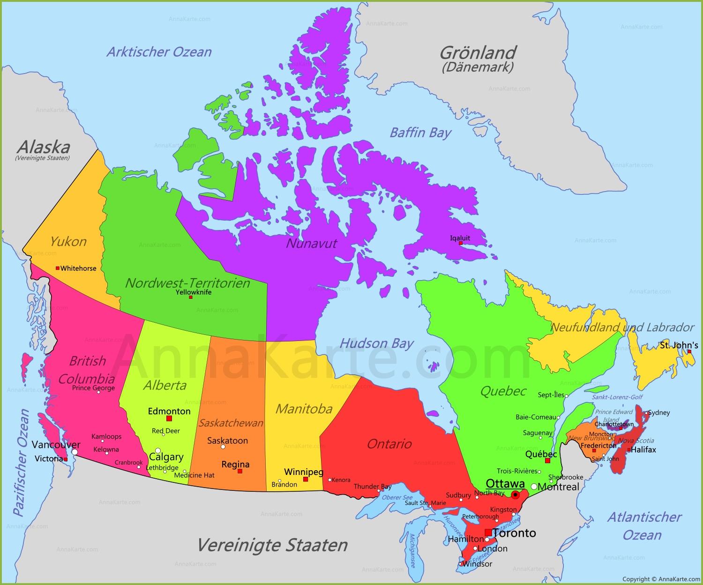 Kanada Karte Annakarte Com
