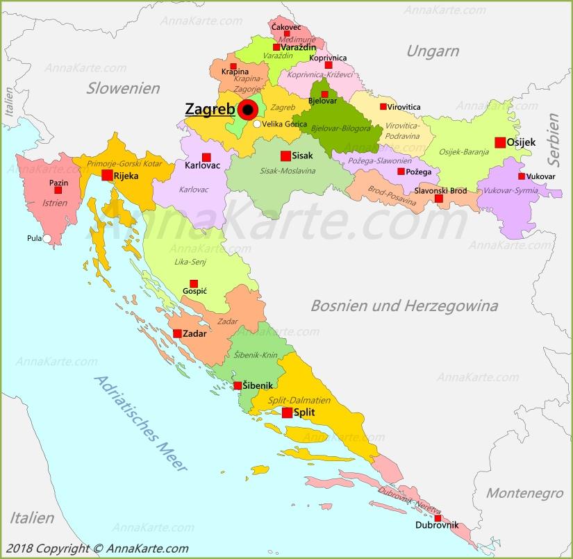 Kroatien Karte Annakarte Com