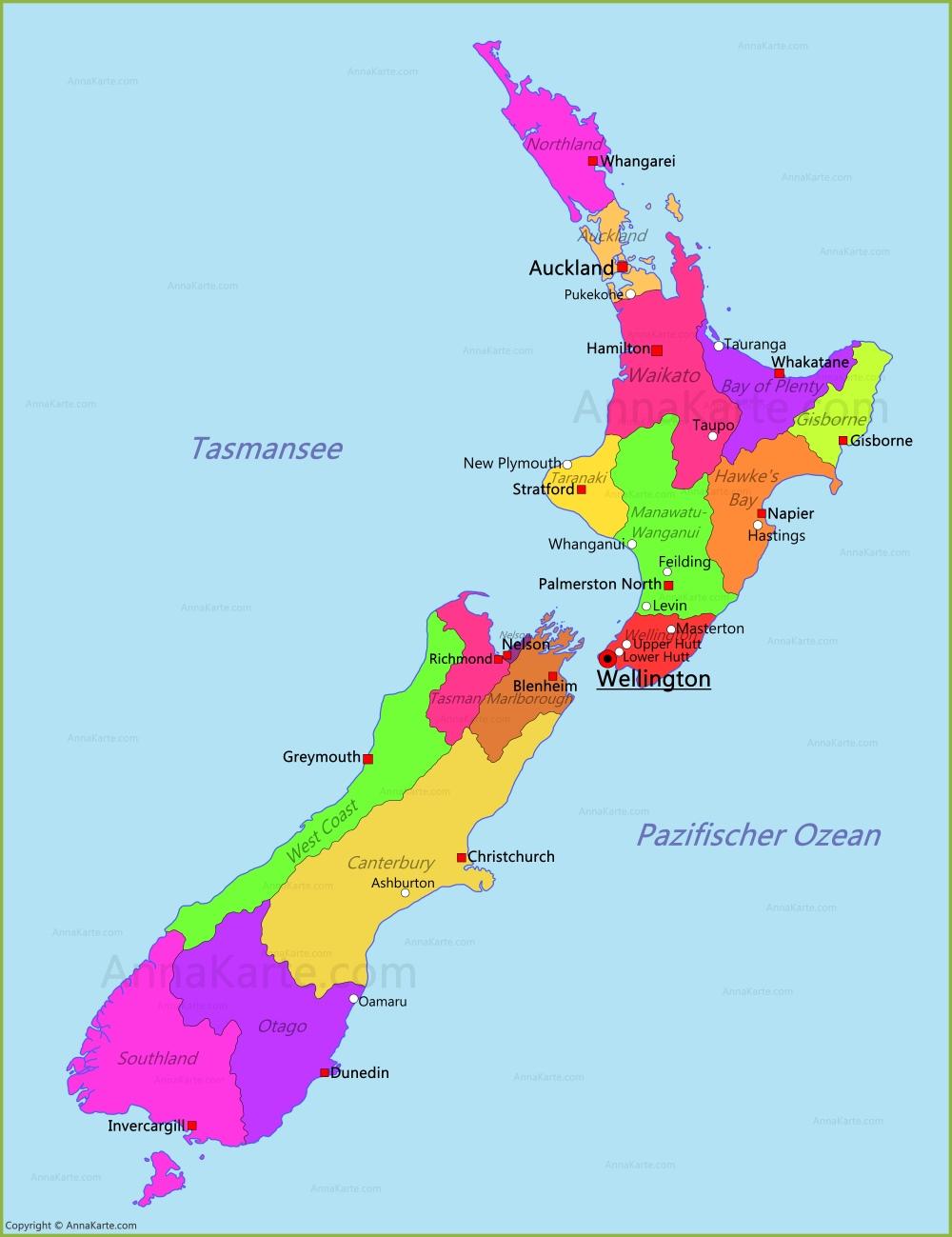 Neuseeland Karte Annakarte Com