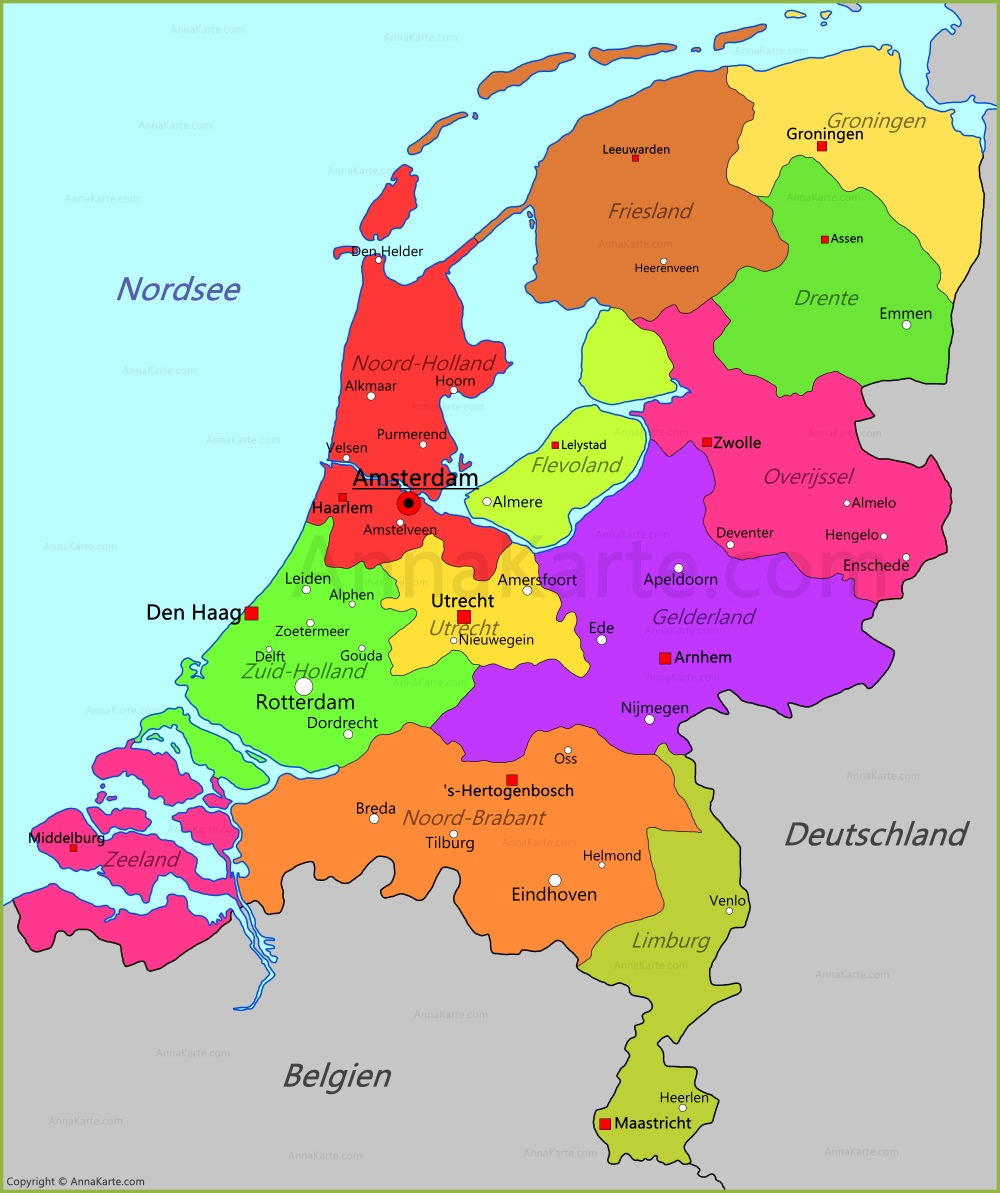 holland auf der karte Niederlande Karte   AnnaKarte.com