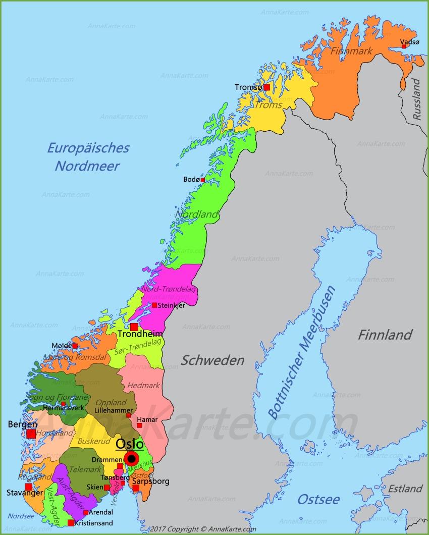 norwegen karte Norwegen Karte   AnnaKarte.com