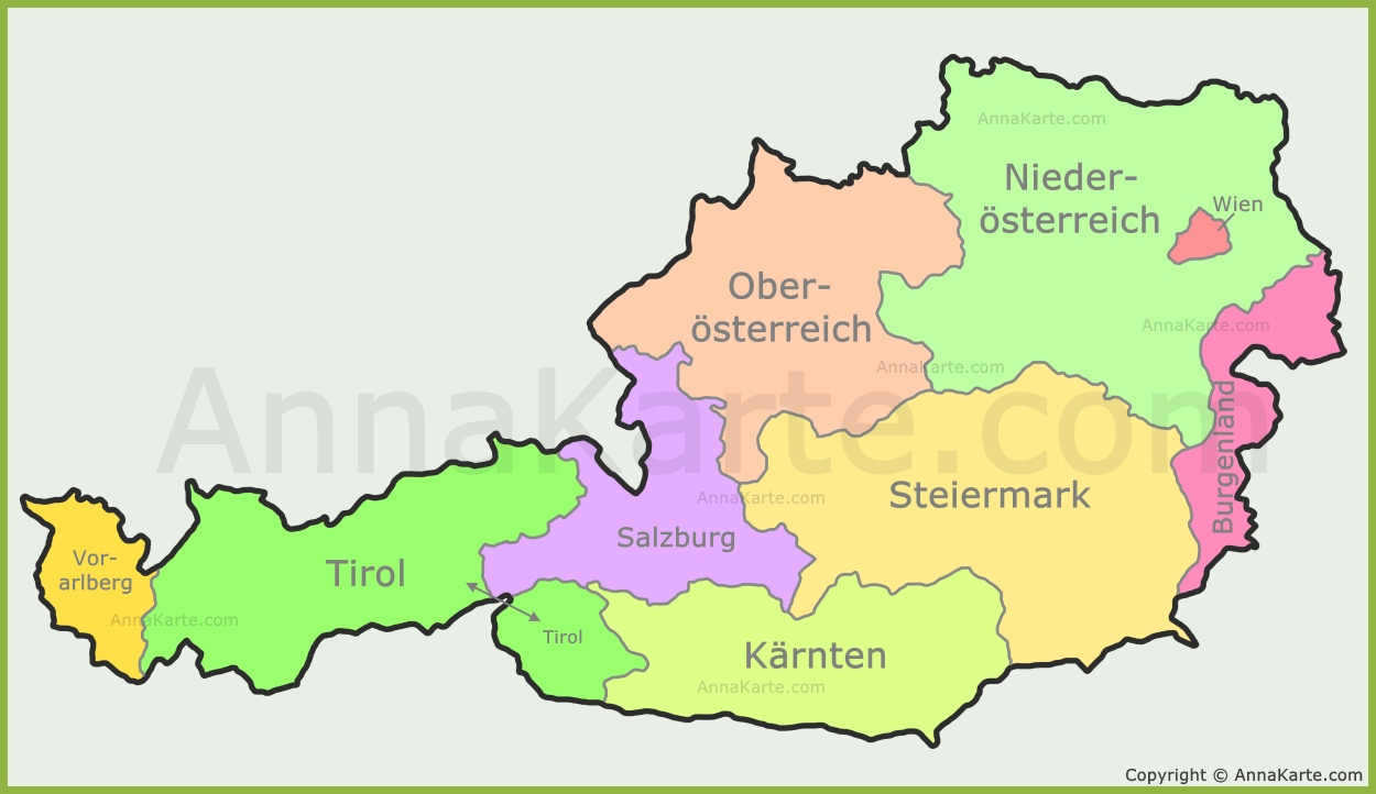 österreichische bundesländer karte Österreich Karte Mit Bundesländer   AnnaKarte.com