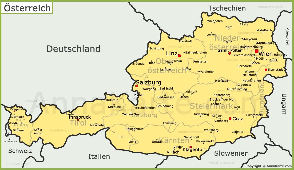 karte von österreich Österreich Karte   AnnaKarte.com