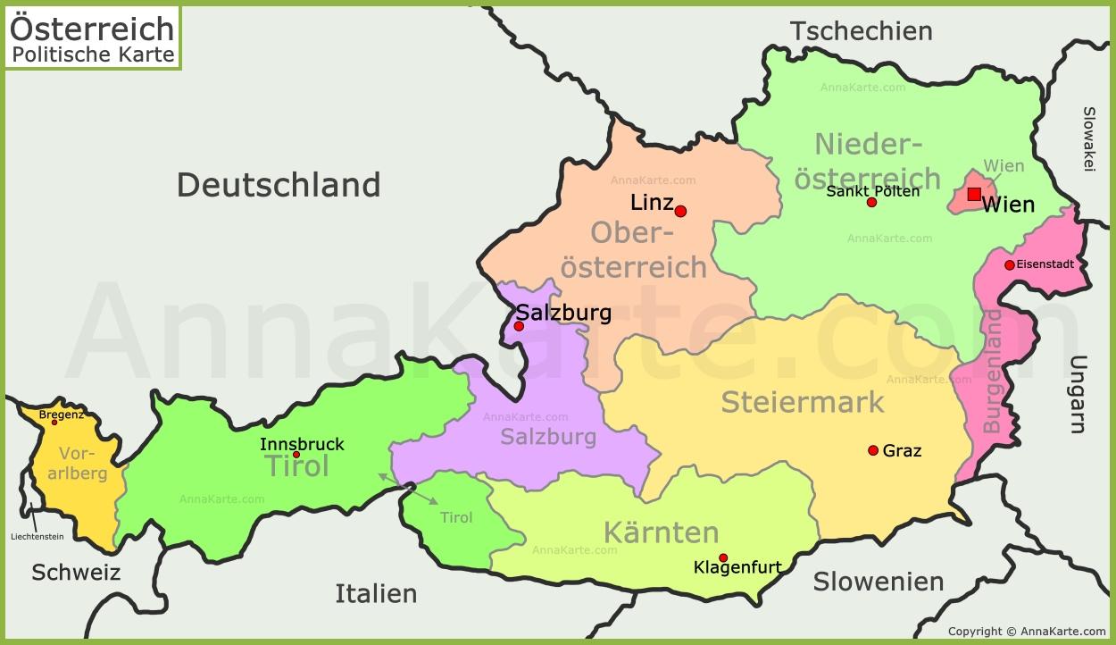 österreich landkarte Österreich politische Landkarte   AnnaKarte.com österreich landkarte