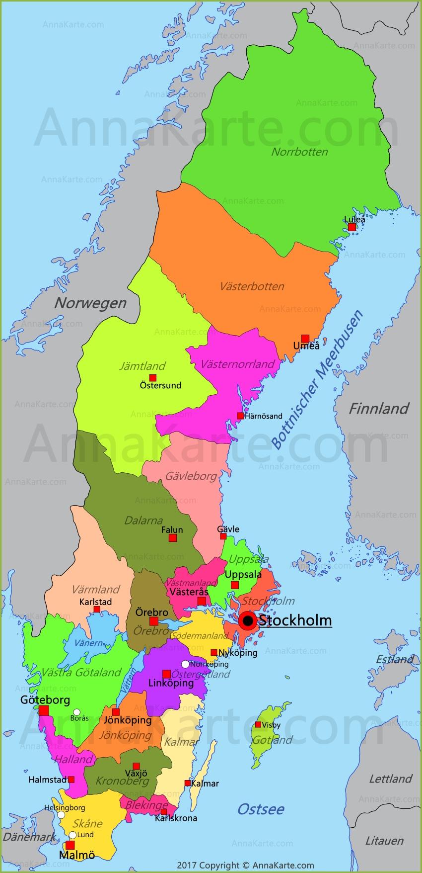 Schweden Karte Deutsch.Schweden Karte Annakarte Com
