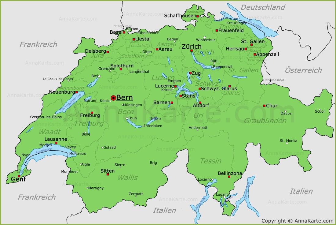Schweiz Karte - AnnaKarte.com - Deutschland Und Schweiz Karte