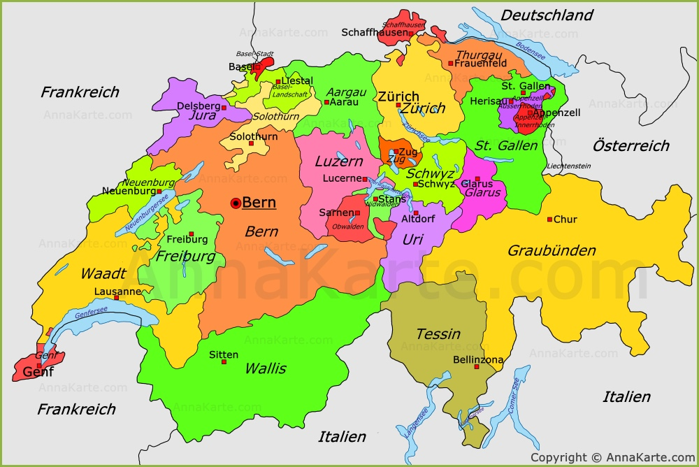 Karte Mit Kantonen Schweiz | Kleve Landkarte