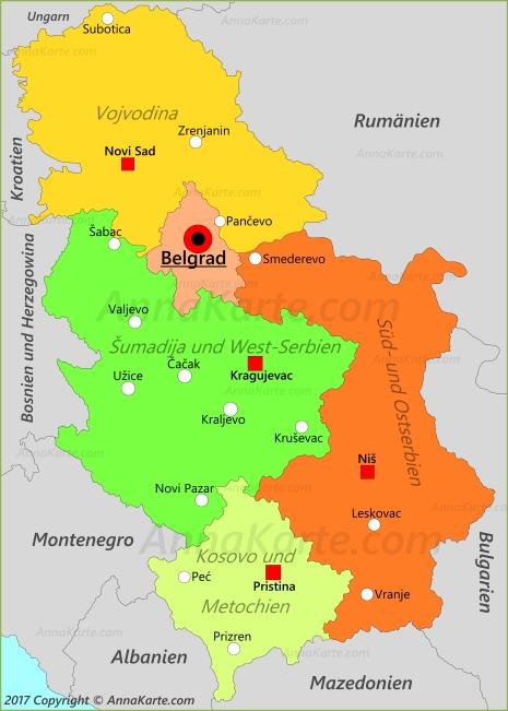 Serbien Karte Annakarte Com