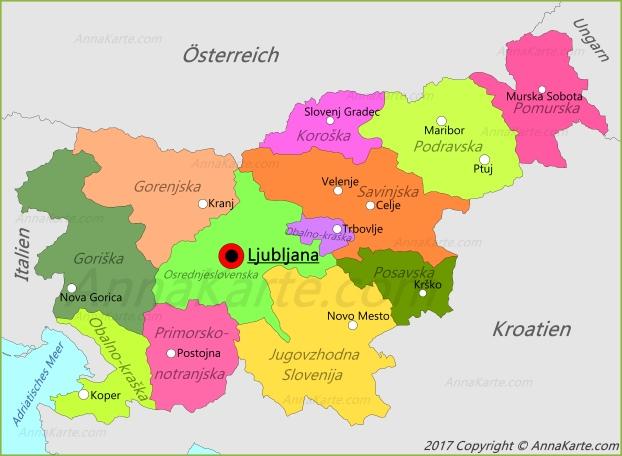 slowenien karte Slowenien Karte   AnnaKarte.com