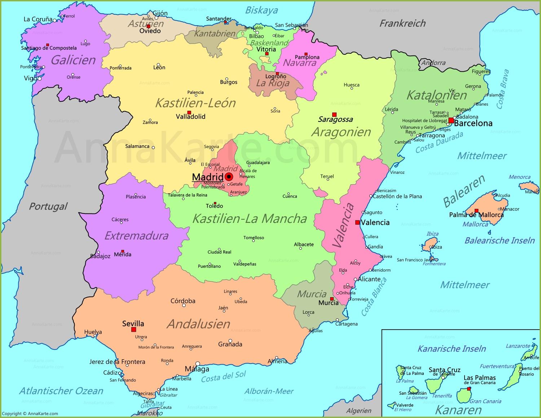 Spanien Karte Annakarte Com