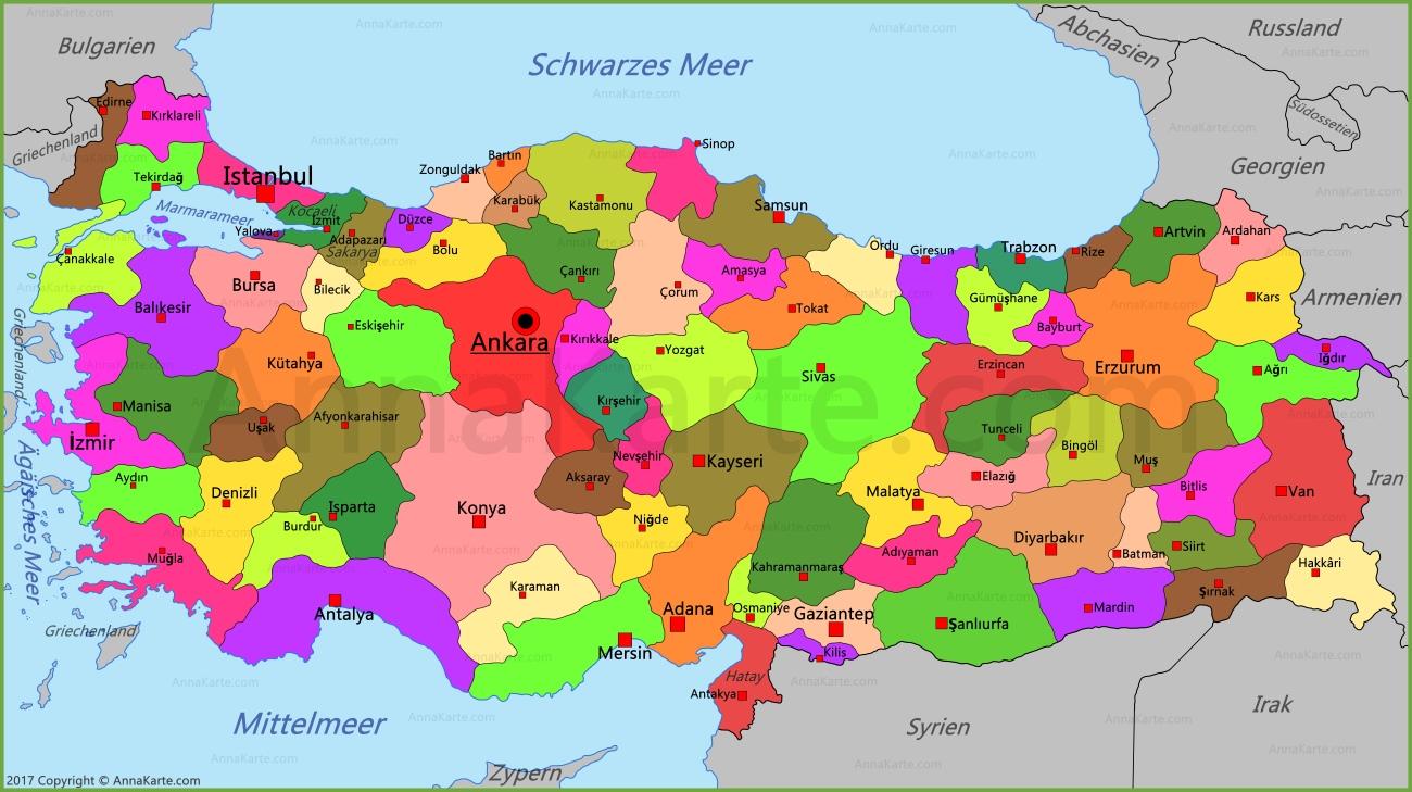 Turkei Karte Annakarte Com