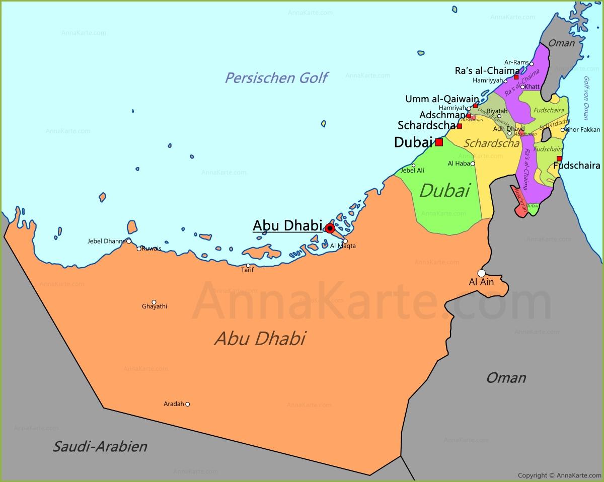 vereinigte arabische emirate karte Vereinigte Arabische Emirate Karte | VAE karte   AnnaKarte.com vereinigte arabische emirate karte