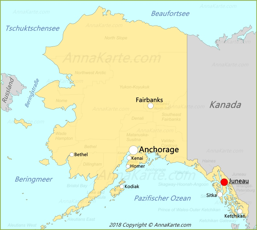 Alaska Karte Vereinigte Staaten Annakarte Com