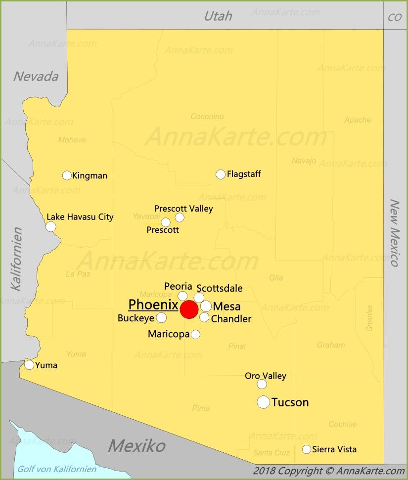 karte arizona Arizona Karte | Vereinigte Staaten   AnnaKarte.com