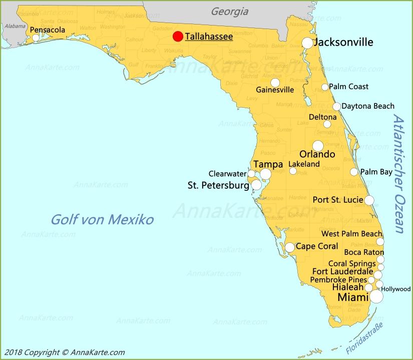 Karte Florida Miami.Florida Karte Vereinigte Staaten Annakarte Com