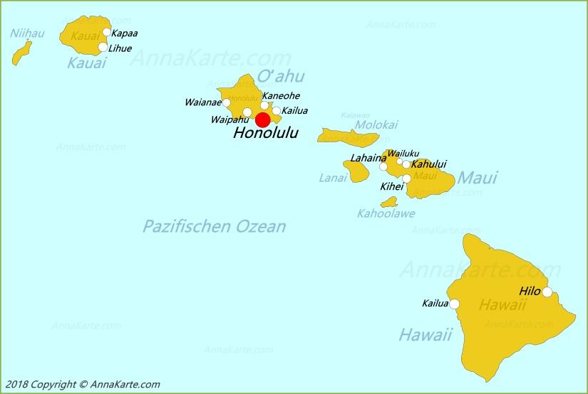 Hawaii Karte Vereinigte Staaten Annakarte Com
